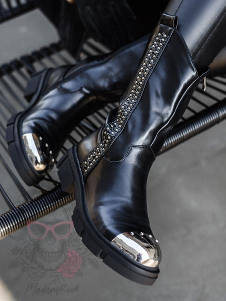Botki bikery z metalowym...