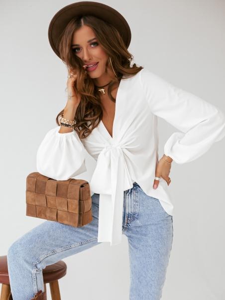 Bluzka z kokardą Eleni biała