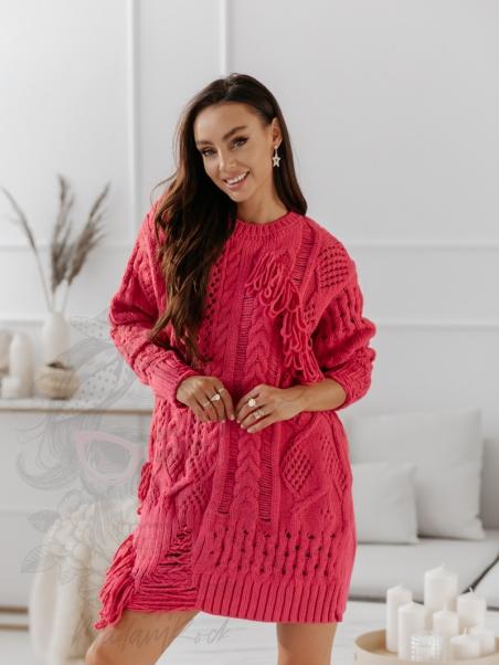 Sweter z frędzlami długi...