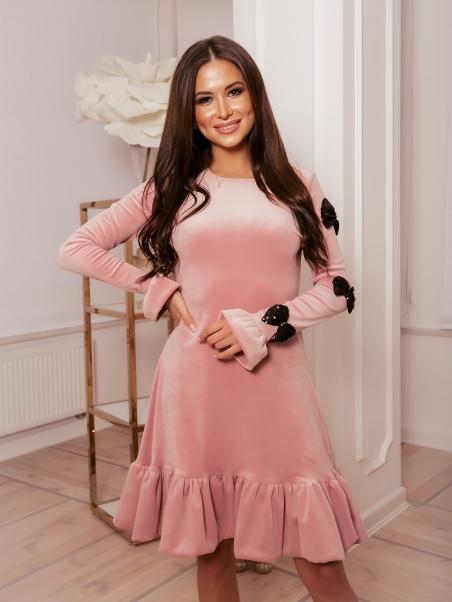 Sukienka welurowa Pink...