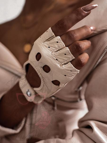 Rękawiczki skórzane bez...
