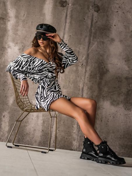 Sukienka elegancka Aggi zebra