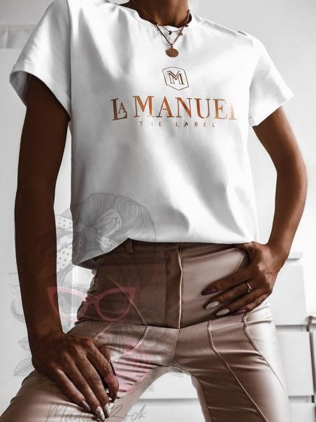 T-shirt bawełniany L.Man biały