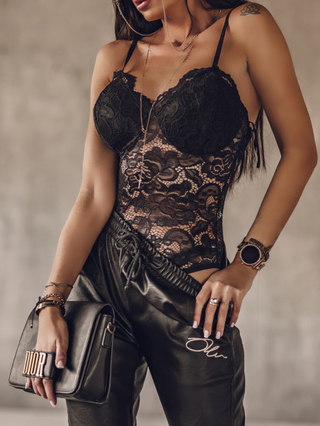 Body koronkowe Merletto czarne