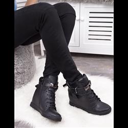 Białe skórzane sneakersy koturny damskie złota kłódka