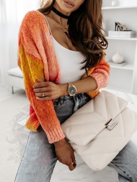 Sweter kolorowy Mish różowy