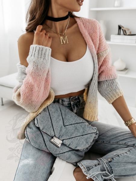 Sweter kolorowy Mish pudrowy
