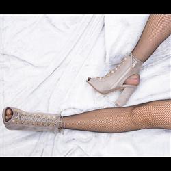 Czarne sneakersy botki damskie koronkowe