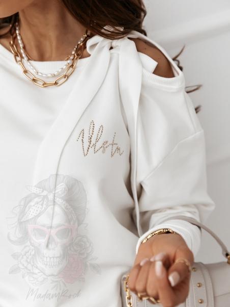 Bluza bawełniana VelBow ecru