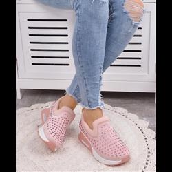 Czerwone zamszowe sneakersy koturny damskie ćwieki