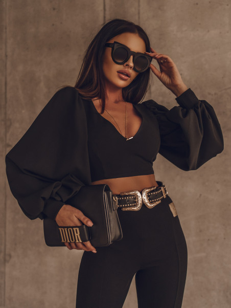 Bluzka elegancka Puffy czarna