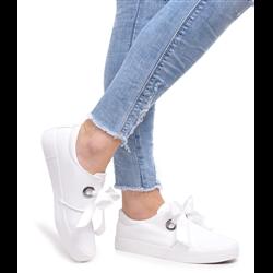 Czarne zamszowe sneakersy koturny damskie wywijane ćwieki