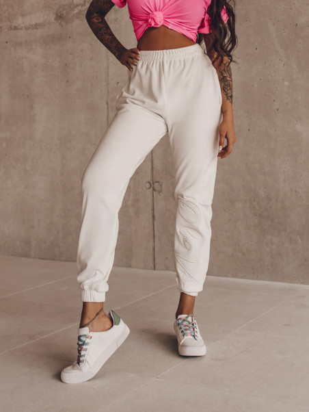 Spodnie welurowe Fancy ecru