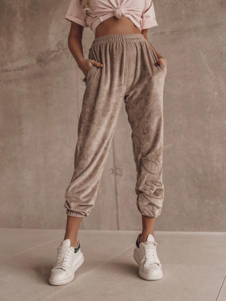 Spodnie welurowe Fancy beżowe
