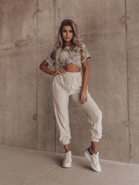 Spodnie welurowe Fancy szare