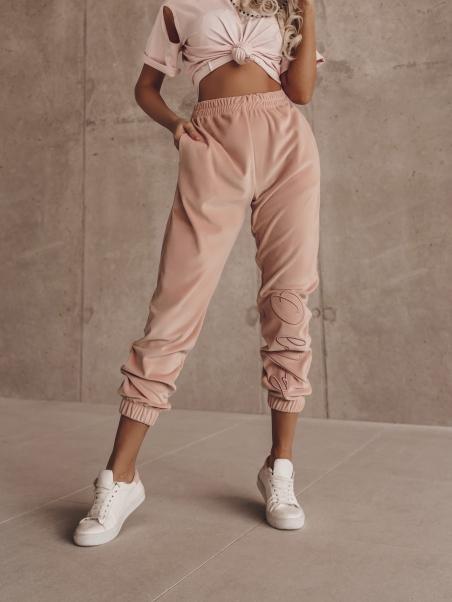 Spodnie welurowe Fancy różowe
