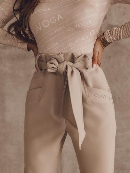 Spodnie wiązane z haftem...