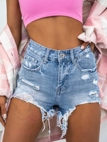 Szorty jeansowe poszarpane...