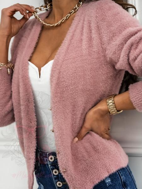Sweterek moherowy na guziki...