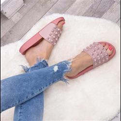 Sandały czerwone z cyrkoniami