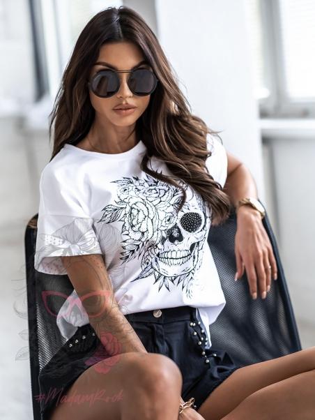 T-shirt z czaszką Horri biały