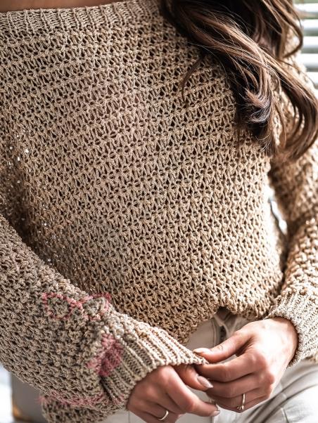 Sweter ażurowy Openwork złoty