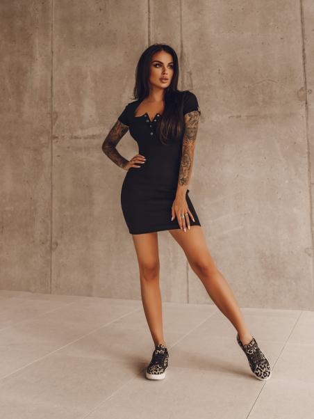 Sukienka prążkowana Basic...