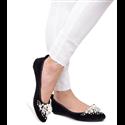 Czarne welurowe sandały kokardki