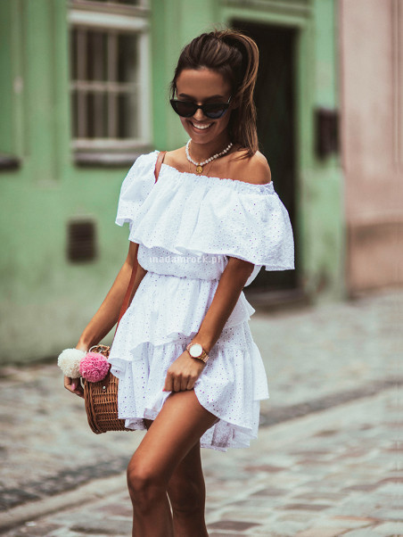 Sukienka ażurowa falbanki...