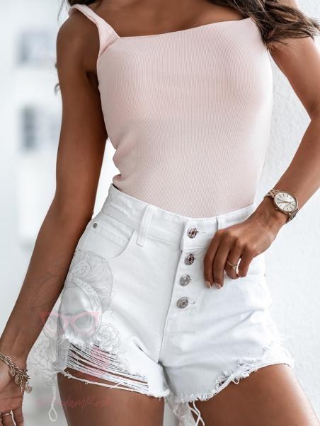 Szorty jeansowe Figura białe