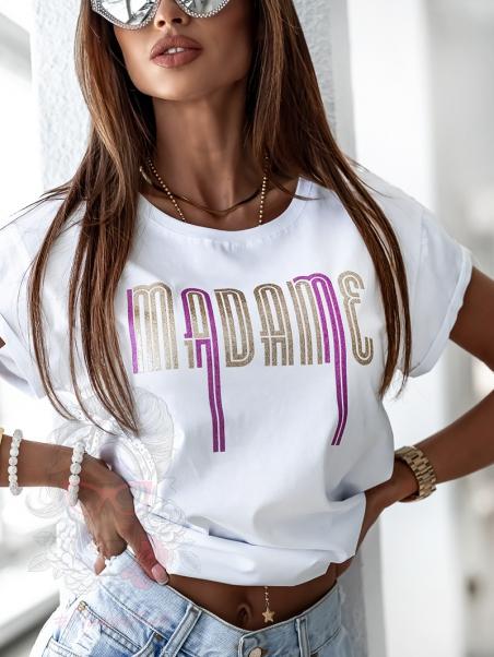 T-shirt Madame Gold biały