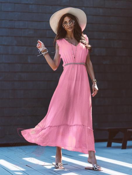 Sukienka maxi Palms pudrowa