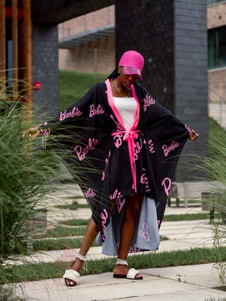Kimono plażowe Barbie czarne