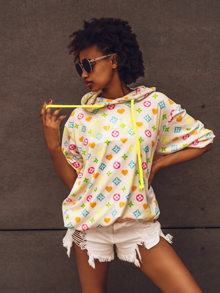Bluza we wzory Neon Print ecru