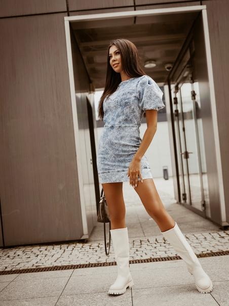 Sukienka jeansowa z bufkami...