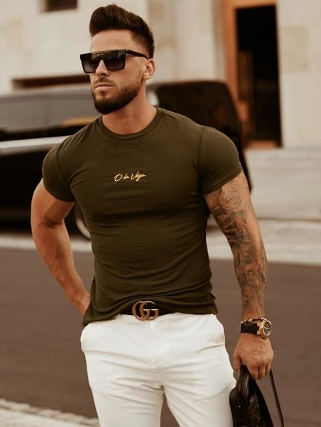 T-shirt męski Luxury Man khaki