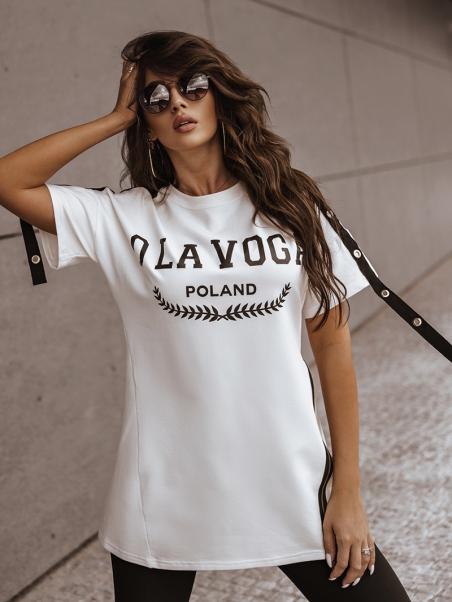 T-shirt bawełniany z pasami...