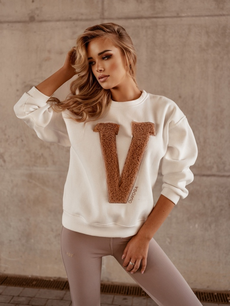 Bluza bawełniana Big V ecru