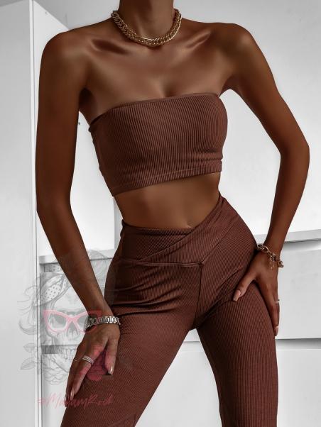 Top krótki Madam Yoga brązowy