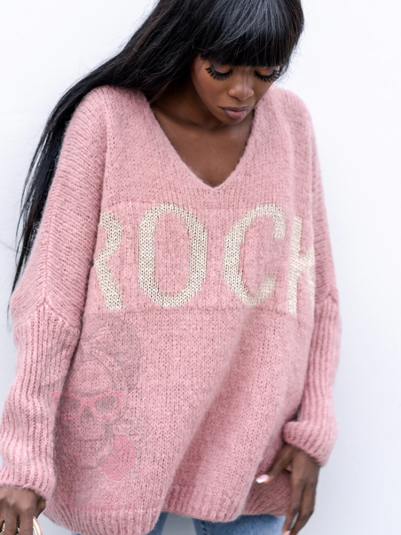 Sweter oversize MyRock pudrowy