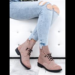 Płaskie zamszowe sandały różowe