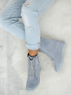 Denim Zamszowe Sneakersy Chic